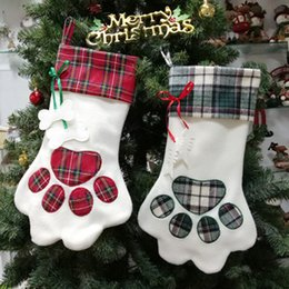 fleece printed paw prints NZ - Christmas Stocking Cloth Ornaments Gift Bag Pet Dog Paw Print Plaid Xmas Stockings New Year Home Decoration Supplies Hanging Pendant