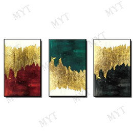 Gold Framed Paintings Australia - POP Indoor wall art home decor Hand-painted gold plating Abstract Oil Painting on canvas wall picture for living room no framed