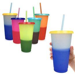 Пластиковые изменения температуры Цвет Чашки Красочные Холодная Вода Изменение Цвета Чашка Кофе Кружка Бутылки с Водой С Соломинкой 5 Цветов ZZA845 на Распродаже