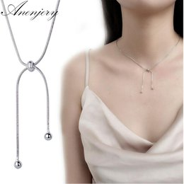 Tassels for necklaces online shopping - Anenjery Sterling Silver Round Beads Tassel Adjustable Pendant Necklace For Women Girl Choker Collar S N216