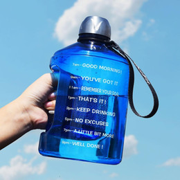 $enCountryForm.capitalKeyWord Australia - Cute 1.3l 1300ml 43oz Quifit Clear Gallon Plastic Water Bottle For Kids With Time Marker Bpa Free Gym Sports Shaker Drinking Jug Y19070303