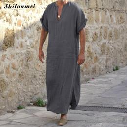 6bf2f24d047 Plus Size 5XL Summer Muslim Men Islamic Abayas Jubah Thobe Robes Kaftan  Short Sleeve Pocket Solid Arabic Dubai Abaya Clothing
