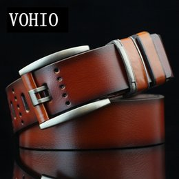 Trade man online shopping - VOHIO autumn winter new mens belts luxury foreign trade men s belt students buckle belt young vintage Hollow out cm