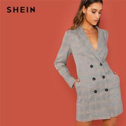 aae02a89e5 SHEIN Grey Elegant Office Lady Shawl Collar Double Breasted Plaid Long Sleeve  Coat 2018 Autumn Workwear Women Coats Outerwear