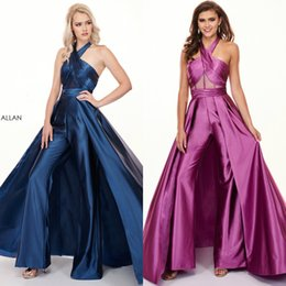 Blue Plus Size Jumpsuit Australia - Royal Blue Halter Prom Dresses Jumpsuits Gloosy Satin Backless Sweep Train Pants Suits Evening Gowns Plus Size Party Dress Abendkleider