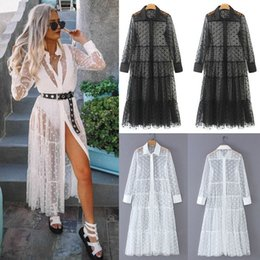 Discount lace see through maxi dress - Women Mesh Sheer Transparent Polka Dot Lace Cover up V Neck Button Down Maxi Dress See-through Party Clubwear Beach Dres