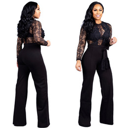 c1cd2dd5b9aa Sheer Lace Patchwork Women Loose Jumpsuit with Belt O Neck Long Sleeve  Night Club Romper Wide Leg Pants Overall Playsuit