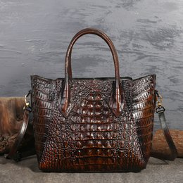 Genuine Leather Handbag Cowhide Shoulder Bag Australia - Top Quality Genuine Leather Messenger Shoulder Top Handle Bags Crocodile Pattern Women Oil Wax Cowhide Cross Body Tote Handbag