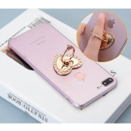 rose gold heart shaped diamond 2019 - Luxury 360 Degree Diamond Heart-shaped Finger Ring Mobile Phone Holder for Iphone8 Samsung note 8 all Smartphone with op