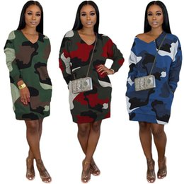 camo skirt fashion NZ - Fall winter Women CAMO one-piece dress fashion print loose dress Casual camouflage long sleeve skirts V neck hoodies short skirts 2140