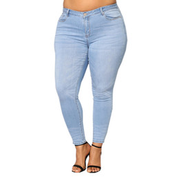 $enCountryForm.capitalKeyWord UK - Hot Sale New Fashion Women Plus Size 2XL-7XL Ripped Stretch Slim Denim Skinny Jeans Pants Casual Light Blue Mid Waist Trousers