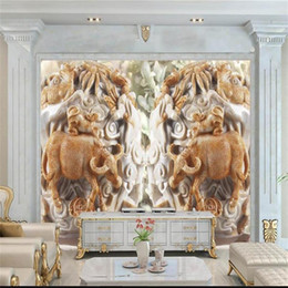 $enCountryForm.capitalKeyWord NZ - custom size 3d photo wallpaper living room mural jade carving cattle copper coins picture sofa TV backdrop wallpaper non-woven wall sticker