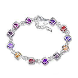 Silver chain braceletS lobSter claSpS online shopping - Hot sale diamond bracelet fashion trend silver plated bracelet elegant luxury ladies bracelet jewelry