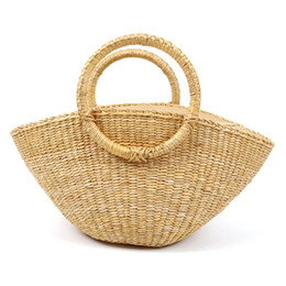 $enCountryForm.capitalKeyWord UK - New Straw Bag Ladies Hand-Woven Hollow Tote Bag Dumpling Shape Rattan Large-Capacity Leisure Travel Beach
