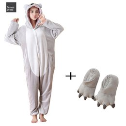 plush slippers for adults Australia - Plush Fancy Sleepwear Koala Kigurumi Animal One Piece Bodysuit Onesies Adult Pajamas Onesie With Slippers Cosplay Bodysuit For Halloween