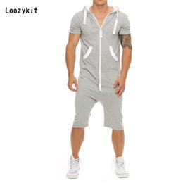 $enCountryForm.capitalKeyWord Australia - LOOZYKIT Summer Patchwork Men Jumpsuits Men's Sportswear Casual Hooded Tracksuit with Pockets Short Overalls pantalon hombre