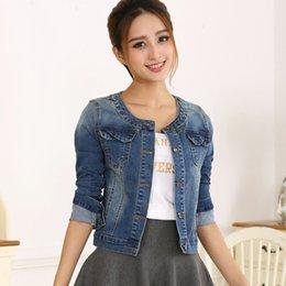 Wholesale womens jeans short size for sale - Group buy Autumn Denim Jacket Women Plus Size Long Sleeve Jeans Jacket Womens Coats Elastic Short Base coats XL BC70