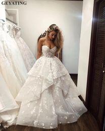 $enCountryForm.capitalKeyWord NZ - Elegant 3D Flowers Flora Wedding Dress 2019 Off the Shoulder Sweetheart Ruched Draped Ruffles Plus Size Princess Bridal Gowns