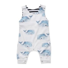 Discount whale baby clothing Cute Newborn Baby Boy Girl Sleeve Whale Print Cotton Romper Jumpsuit Playsuit Outfits Baby Clothes 2020