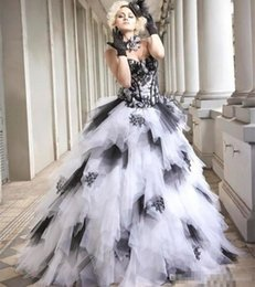Gothic corsets sale online shopping - New Sale Black and White Gothic Wedding Dresses Ball Gown Sweetheart Corset Back Ruffles Tulle Skirt Colorful Wedding Gowns Non White