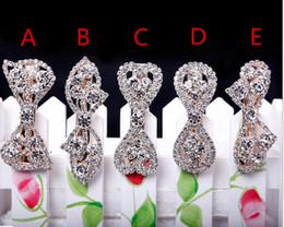 High Quailty Bridal Wedding Headpieces Bling Crystal Rhinestone Exquisite Hair Clip Hair Accessories Bow Silver Pleated For Women Girl Cheap on Sale