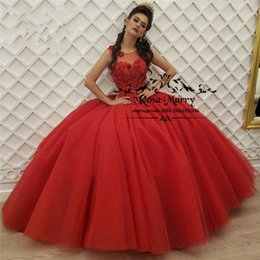 a7e8ff7ec3 Red Sweet 16 Ball Gown Quinceanera Dresses 2019 Masquerade Vintage Lace 3D  Floral Plus Size Girl Birthday Prom Gown Vestido De 15 Anos