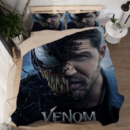 Plain Pink Black Bedding UK - Duvet Cover Sheet 3D terror Venom Film Bedding Sets King Queen full Twin Size 3PCS black PillowCase housse de couette