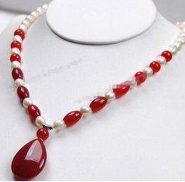 $enCountryForm.capitalKeyWord Australia - FREE SHIPPING > 7-8mm White Akoya Cultured Pearl pendant(20x30mm) Necklace