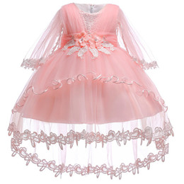 White Clothes For Baptism Australia - New Infant Baby Girls Dress 2018 Summer Lace Floral Baptism Dresses For Girls 1st Year Birthday Party Wedding Baby Clothes Tulle J190528