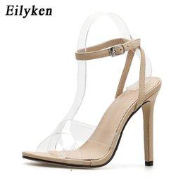ad3032c64527 wholesale Fashion jelly PVC Women Sandals Buckle Pumps Super High Heels  Perspex heels Party Sandals Shoes Black Size 35-40