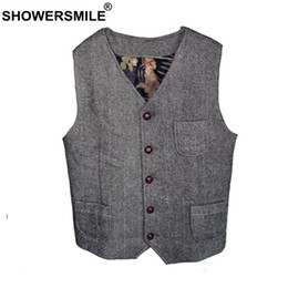 $enCountryForm.capitalKeyWord Australia - SHOWERSMILE Tweed Waistcoat Men Gray Herringbone Vests Male Vintage Slim Fit Gilet Pockets Autumn Winter Retro Sleeveless Jacket