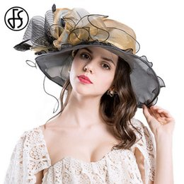 Woman Big Brim Hats NZ - FS Retro Organza Sun Hat For Elegant Women Large Brim Big Flower Summer Fashion Ladies Beach Sombreros Mujer Verano Flores D19011103