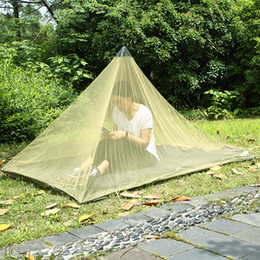Discount fiber one - 2.2*1.2m Single Layer Gauze Mosquito Net Tents Outdoor Camping Portable Mesh Tent Pyramid Shape Tents Garden Decor