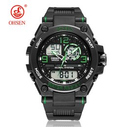 dual time watches men UK - Reloj Digital Hombre Men Sport Watches 30M Waterproof LED Digital Dual time Green Military Electronics Quartz Watch Montre Homme