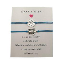 $enCountryForm.capitalKeyWord NZ - 2 Pcs Set Vintage Hollow Compass Charm Bracelets For Women Men Antique Silver Turtle Charms Make a Wish Bracelet With Card
