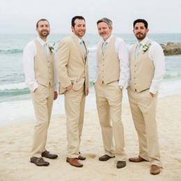 $enCountryForm.capitalKeyWord NZ - Summer Beach Wedding Beige Linen Groom Wedding Suits for Man Tuxedos Slim Fit Smoking Jacket 3Piece Latest Coat Pant Designs Costume Homme