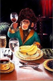 oil painting wine art Australia - Lovely Monkey drinking wine, Pure Handcraft Animail Arts Oil Painting On High Quality Canvas For Home Wall Decor in custom sizes