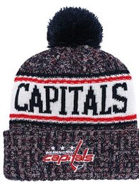 fitted skull caps UK - WASHINGTON CAPITA ls Ice Hockey Knit Beanies Embroidery Adjustable Hat Embroidered Snapback Caps Orange White Black Stitched Hat One Size 00
