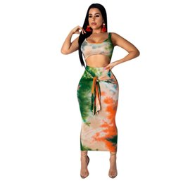 Matching Tie UK - Sexy Two Piece Set Club Outfits Tie Dye Crop Top and Midi Skirt Bodycon 2 Piece Sets Summer Women Matching Sets
