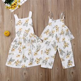 infant baby sundress 2019 - Cute Sister Matching Outfits Summer Infant Baby Girl Romper Floral Bib Pants Sling Dress Sundress Kids Clothes Children