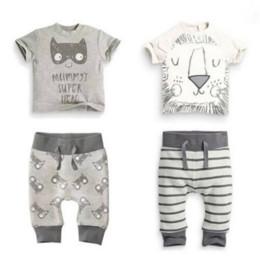 $enCountryForm.capitalKeyWord Australia - Retail 2019 new baby boy clothes set 2pcs Cartoon lion and cat T-shirt with short sleevess+pants baby summer clothes
