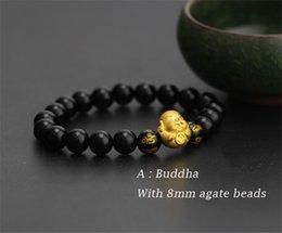 Discount men luck bracelet - Pure 24K 999 Yellow 3D Gold Smile Buddha Luck Bead Black Agate 8mm Bracelet For Women Men Fashion 1-1.2g 12*13mm 2019 Ne