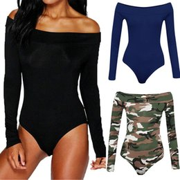 Wholesale long sleeve leotard fashion for sale – dress Summer New Fashion Womens One Piece Bodysuit Sexy Ladies Off Shoulder Long Sleeve Bardot Bodysuit Leotard Top Plain Stretch Tops
