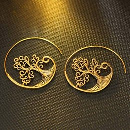 wholesale charms UK - New Design Vintage Gold Color Tree Spiral Drop Earrings Punk Gear Earrings For Women Jewelry Gift C19022801