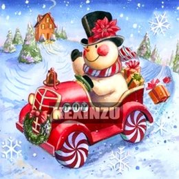 "$enCountryForm.capitalKeyWord NZ - Full Square Round 5D DIY Diamond Painting""Christmas present"" Snowman Car Embroidery Cross Stitch Mosaic 15x15cm canvas Size Home Decor Gift"