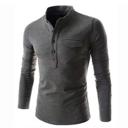 polo designs UK - New Design Solid Color Men 2019 Fashion Stand Collar Gray Long Sleeve Polo Casual False Pocket Henley Shirt C19041501