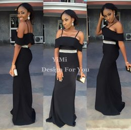 Pictures Black Coral Beads Australia - African Beads Black Mermaid Bridesmaid Dresses Spaghetti Backless Floor Length Garden Country Wedding Guest Gowns Maid Of Honor Dress 2019