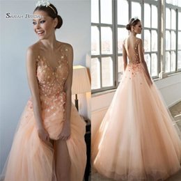 $enCountryForm.capitalKeyWord Australia - 2019 Modest A-Line Wedding Dresses Hand Made Flowers Backless V Neck Tulle Bohemia Bridal Dress Party Gowns