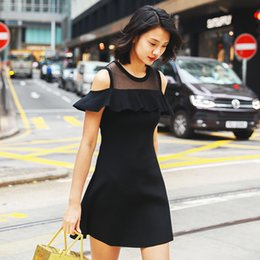 $enCountryForm.capitalKeyWord Australia - Unlined Upper Garment Suit-dress Gauze Split Joint Lotus Leaf Edge Knitting Skirt Temperament Commute Self-cultivation Summer Wear Dress