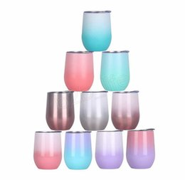 $enCountryForm.capitalKeyWord Australia - 12oz Eggshell Cup Colorful Egg Shape Cups tumble gradient Stainless Steel Mug Red Wine Cocktail coffee mugs with lid LJJA2737